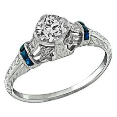 0.53 Carat GIA Diamond Sapphire Platinum Engagement Ring