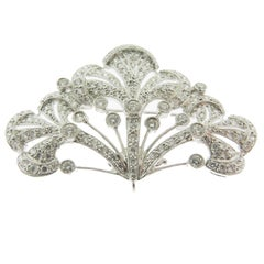 1930's Open Filigree Diamond White Gold Brooch.