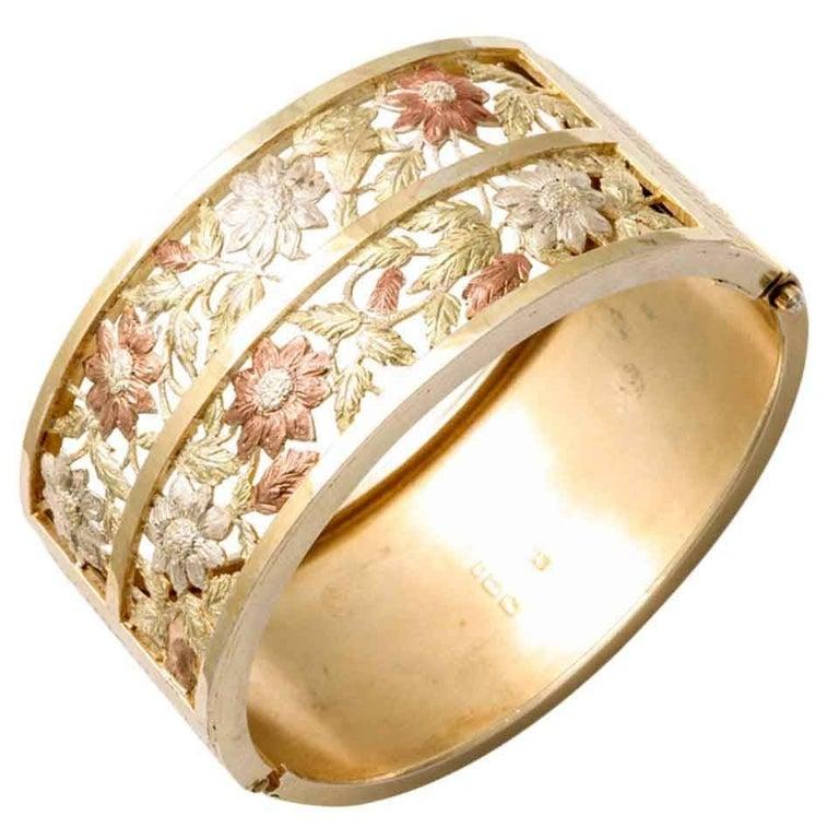 Antique Victorian Silver Gilt Bangle Bracelet For Sale