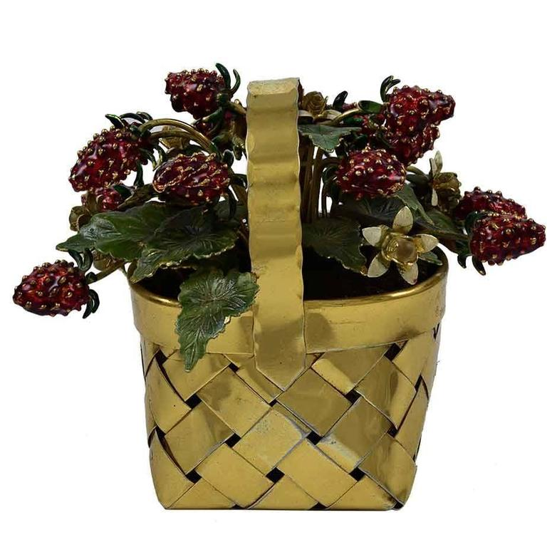 Cartier Vermeil and Enamel Basket of Strawberries For Sale