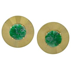 Large Carved Jade Gold Ear Clips