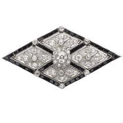 Art Deco Onyx Diamond Platinum Brooch