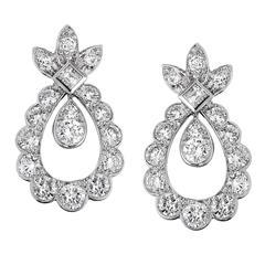 Chaumet Diamond Gold Dangle Earrings