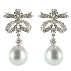 New French Grey Pearl Diamond Earrings