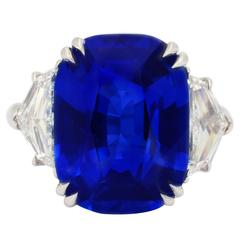 Unheated Burma Royal Blue Sapphire Diamond Platinum Ring