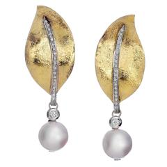 South Sea Pearl Diamond Gold Pendant Earrings