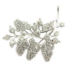Diamond Gold Grape Vine Brooch