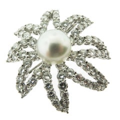 Diamond and Pearl Platinum Brooch