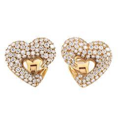 Bulgari Diamond Pave Gold Heart Clip-On Earrings