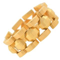 Retro French Faceted Gold Link Bracelet