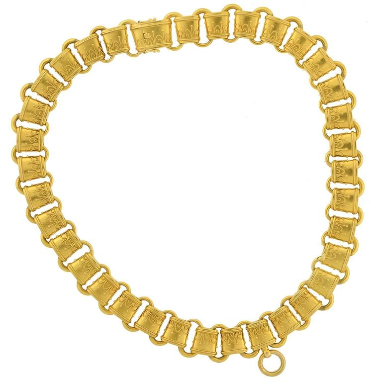 Victorian Ornate Gold Etruscan Link Book Chain Necklace