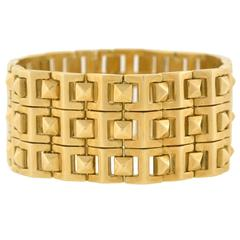 Contemporary Pyramidal Stud Link Wide Gold Bracelet