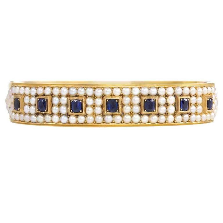 Antique Half-Pearl Sapphire Gold Bangle Bracelet For Sale