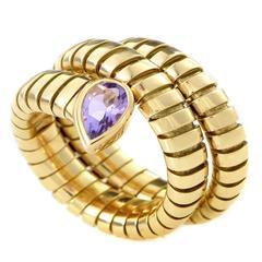 Bulgari Tubogas Amethyst Gold Snake Ring