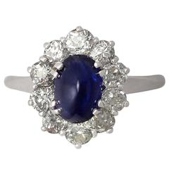 1940s 2.17 Carat Sapphire and Diamond White Gold Cocktail Ring