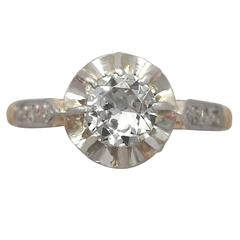 1920s 0.58 ct Diamond and 18K Yellow Gold Solitaire Ring