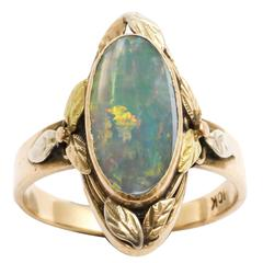 Arts and Crafts Opal Three Color Gold Ring