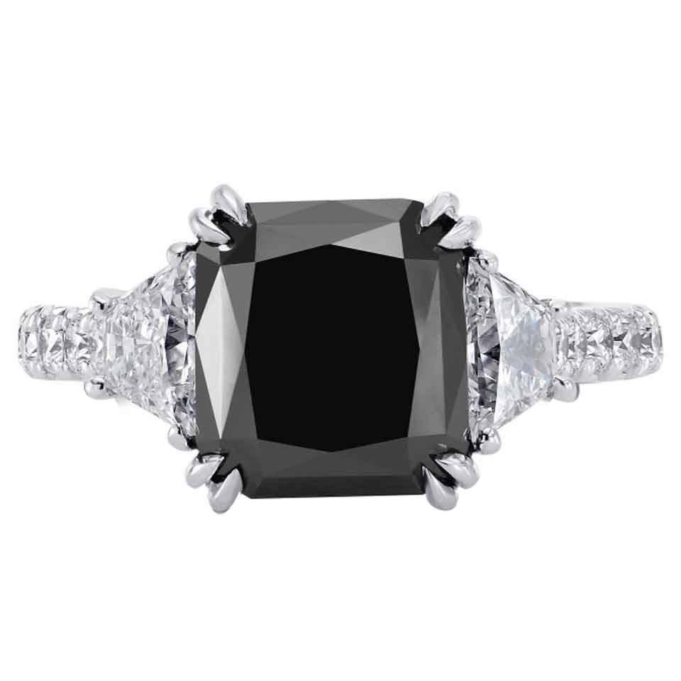 5 33 Carat Radiant Cut Fancy Black Diamond Engagment Ring For Sale at 1stdibs