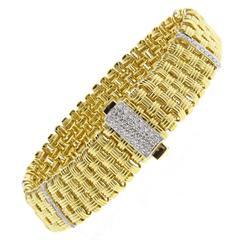Roberto Coin Appassionata Five Row Diamond Gold Bracelet