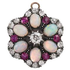 Convertible Victorian Opal Ruby Diamond Silver Gold Ring Pendant