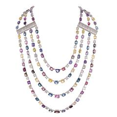 158.84 Carat Colored Sapphire Diamond Gold Multi-Strand Necklace