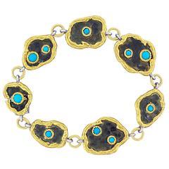 Victor Velyan Turquoise Silver Gold Link Bracelet