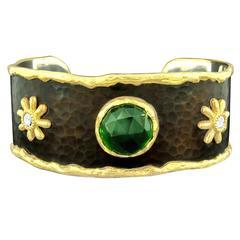 Victor Velyan Green Tourmaline Diamond Silver Gold Cuff Bracelet