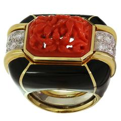 David Webb Enamel Coral Diamond Gold Platinum Ring