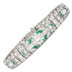 Art Deco Emerald Diamond Bracelet