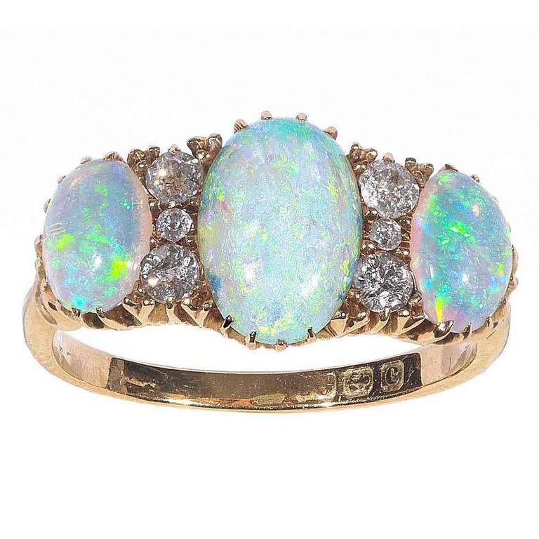 Antique Opal Diamond Gold Three Stone Ring At 1stdibs
