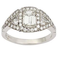 1.00 Carat Emerald Cut Diamond Platinum Engagement Ring