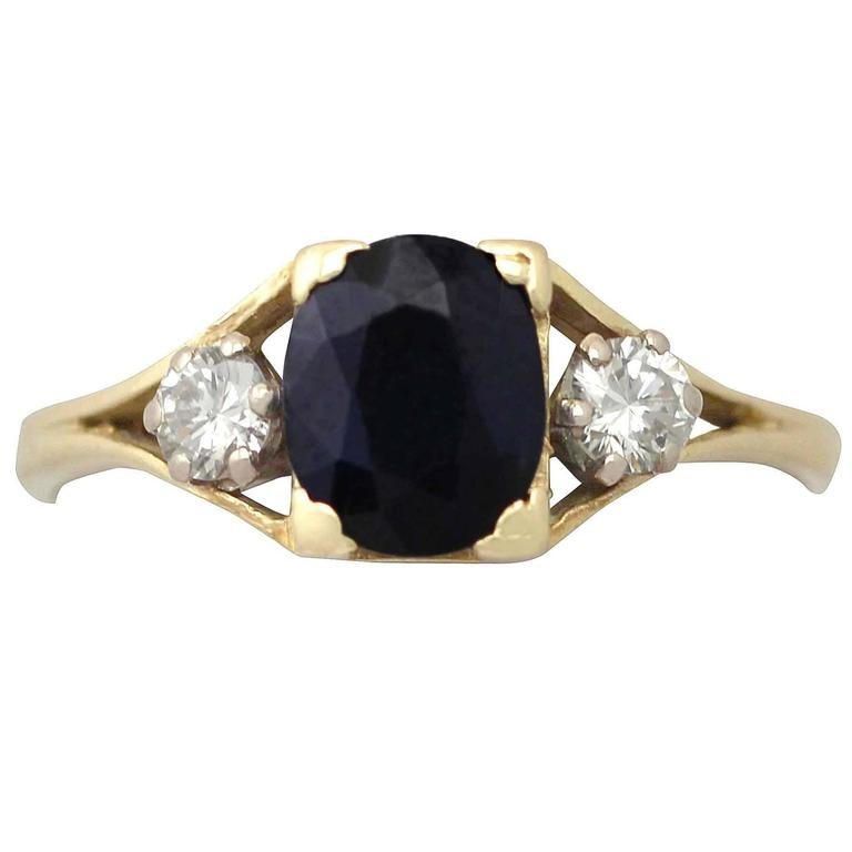 1950s 2.10 ct Sapphire and 0.24 ct Diamond, 18k Yellow Gold Dress Ring 1