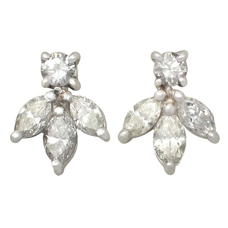 0.70 ct Diamond and 18k White Gold Stud Earrings 1