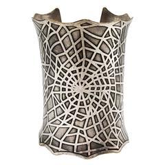 Impressive Silver Spider Web Motif Cuff