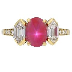 Tiffany & Co. Star Ruby Diamond Gold Ring