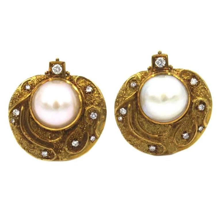 elizabeth gage mabe pearl gold clip earrings at