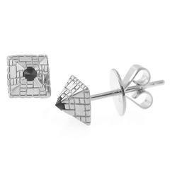 Singular Sapphire Stud Silver Earrings