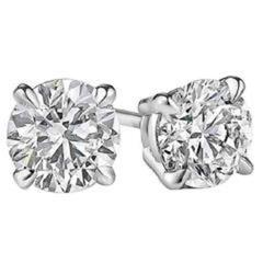 3.35 Carat Diamond Gold Stud Earrings