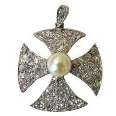 Elegant Antique Pearl Diamond Gold Platinum Maltese Cross Pendant Charm