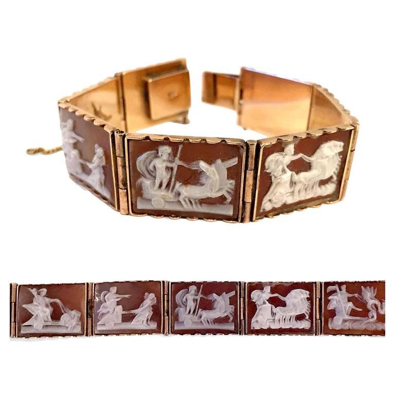 Antique Rare Scenic Cameo Bracelet  1