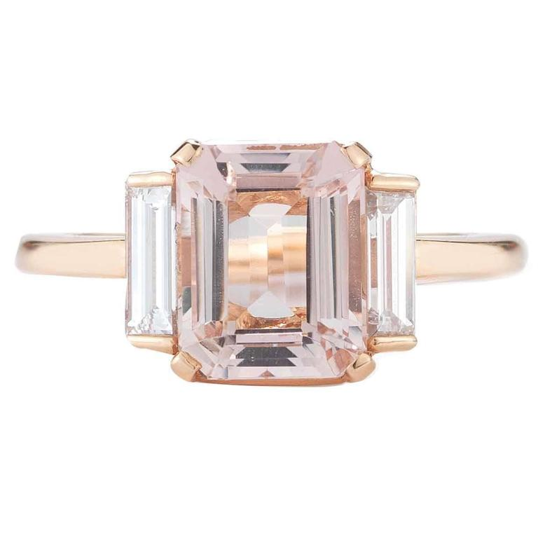 Rose Gold 3 Carat Emerald Cut Morganite and Diamond Ring 1