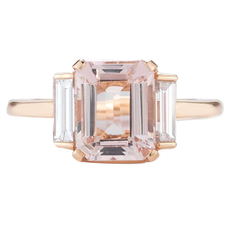 Very best Rose Gold 3 Carat Emerald Cut Morganite and Diamond Ring at 1stdibs NG89