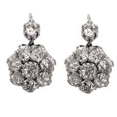 Original Victorian Diamond Gold Cluster Earrings
