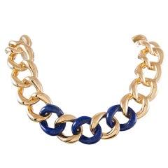 Seaman Schepps Lapis Gold Link Necklace