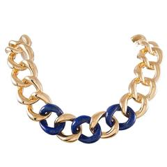 Seaman Schepps Lapis Gold Link Necklace