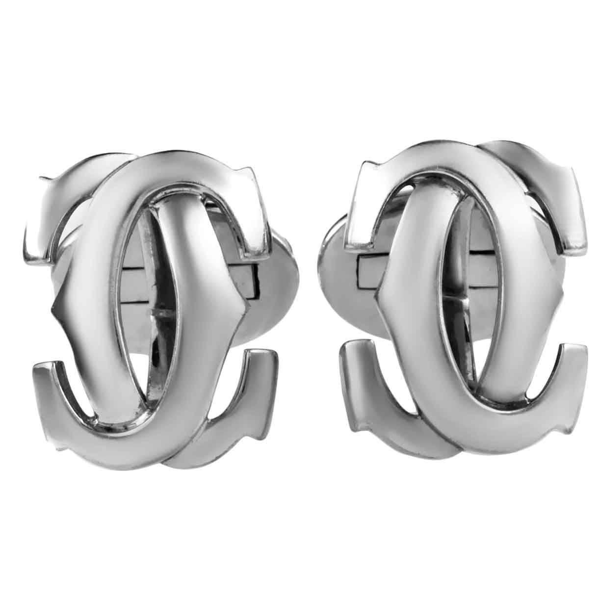 cartier c de cartier white gold cufflinks at 1stdibs