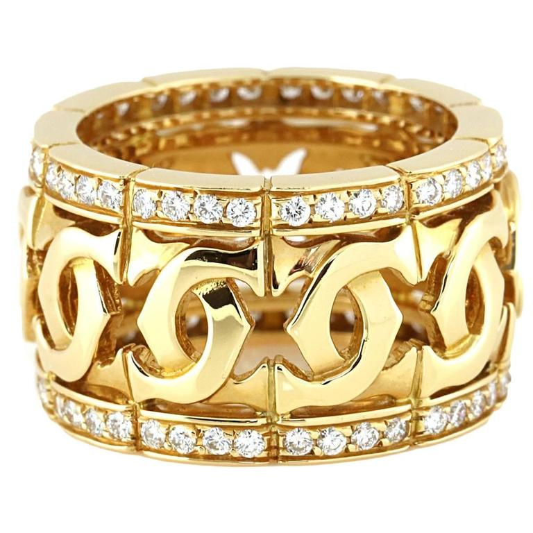 Cartier Double C Diamond Gold Ring 1