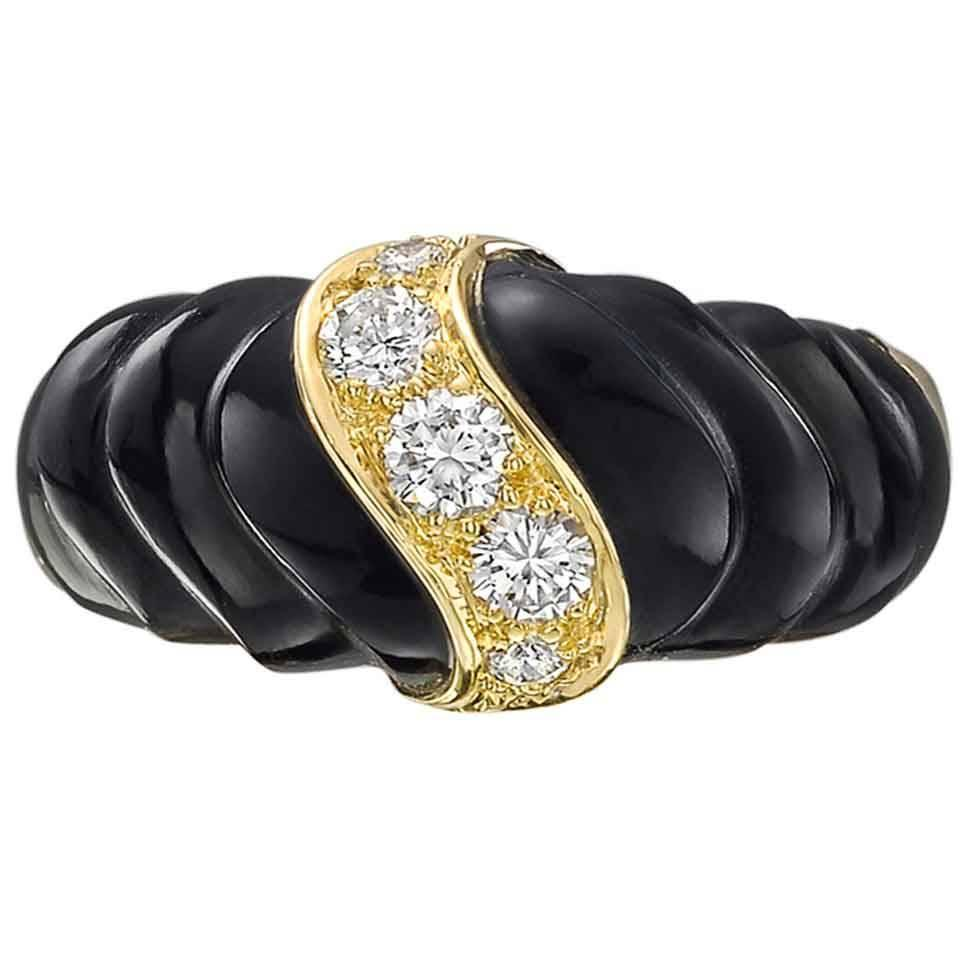 cleef and arpels black onyx and dress ring for