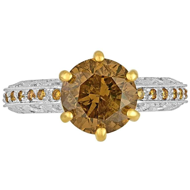 3.03 Carat Brown Diamond Yellow and White Melee Three Color Gold Ring