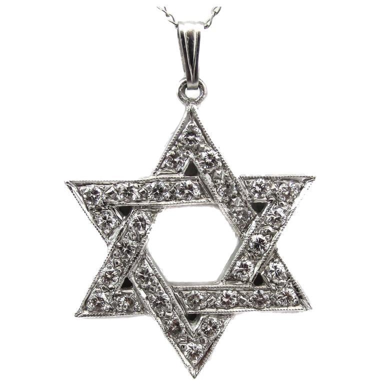 "Diamond Platinum ""Star of David"" Pendant Necklace"